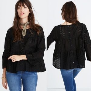Madewell || NWT Eyelet Tiered Button Back Top XS